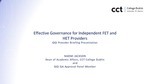 Effective Governance for Independent FET and HET Providers